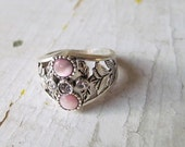 Vintage Ornate Sterling Silver Ring With Pink Stones-Free Shipping in the USA