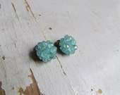 Vintage 1950s West Germany Light Blue Beaded Clip On Earrings
