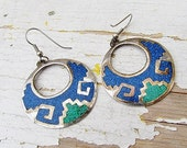 Vintage Mexican  Earrings With Turquoise And Lapis Inlay c.1970s