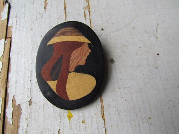 Vintage Jewelry-1970s Rainy Day Girl Wooden Brooch-Free Shipping