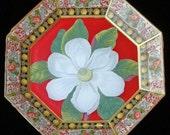 Decoupage White Flower Plate