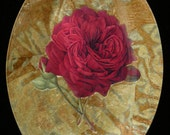 Red Rose Decoupage Under Glass Plate