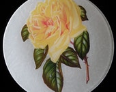 Yellow Rose Decoupage Under Glass Plate