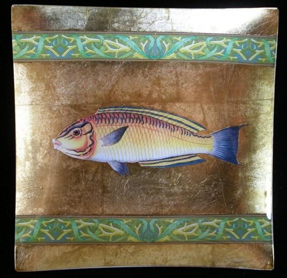 Yellow Fish Decoupage Under Glass Plate