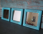 Set of 3 Distressed Wood Frame Turquoise Mirrors