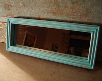Turquoise Distressed Framed Mirror Wood