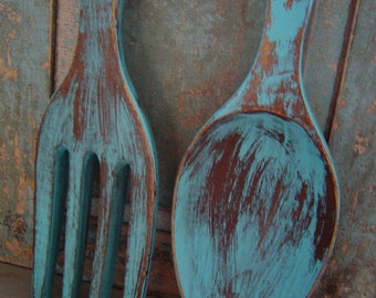 Turquoise Spoon Fork Wooden Wall Decor Distressed BIG