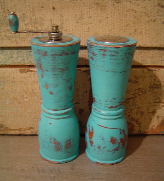 Turquoise Salt Shaker and Pepper Grinder Mill