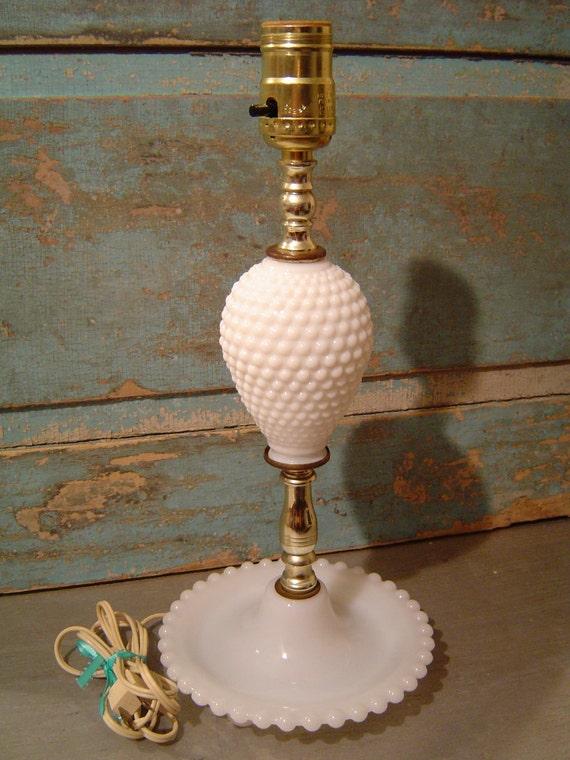 vintage hobnail milk glass lamp by turquoiserollerset on etsy