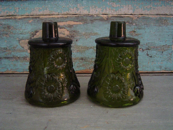 Set of Green Floral Votive Candle Cups Wall Sconce Vintage