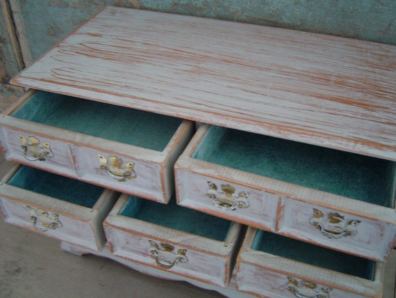 Jewelry Box Gray Distressed Wooden Vintage