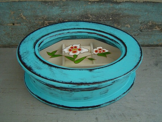 Jewelry Box Turquoise Distressed Oval