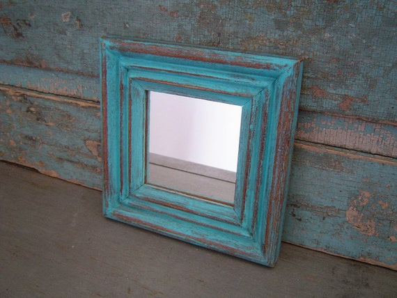 Turquoise Distressed Wood Frame Mirror Square