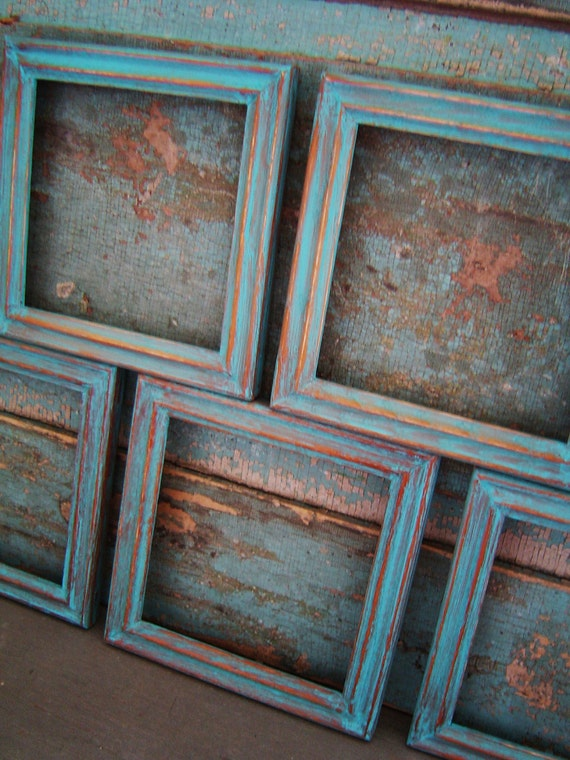 Turquoise Distressed Wood Picture Frame Gallery Collection