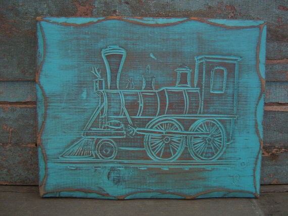 Hand Carved Train Turquoise Wood Distressed Wall Decor Nursery Boys Room