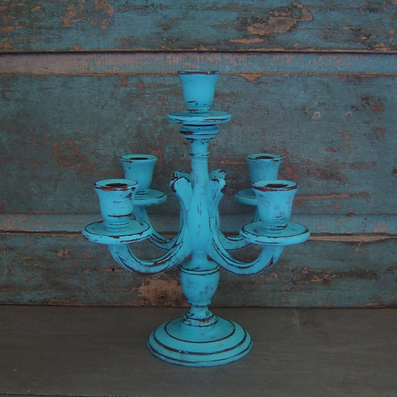 Candelabra Candle Holder Turquoise Distressed Wood