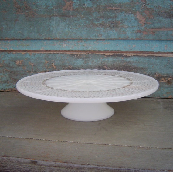 Anchor Hocking Milk Glass Pedestal Cake Stand Plate Gold Fleur De Lis Design