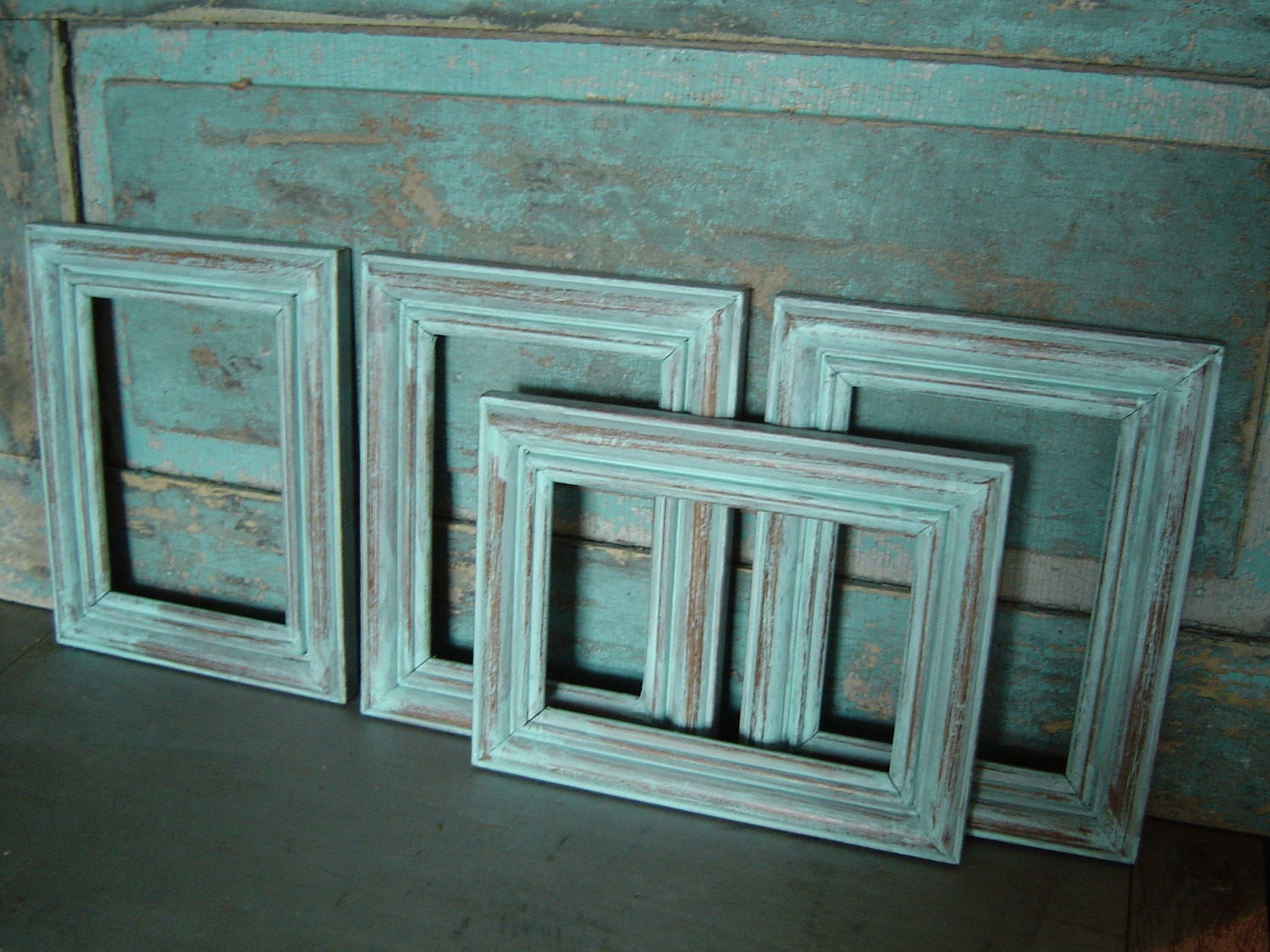 soft blue distressed wood picture frame by turquoiserollerset