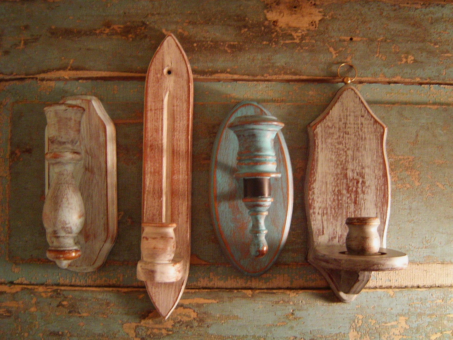 Wall Candle Sconces Wood : Candle Holder Wall Sconces Wood Distressed Cloudy Skies