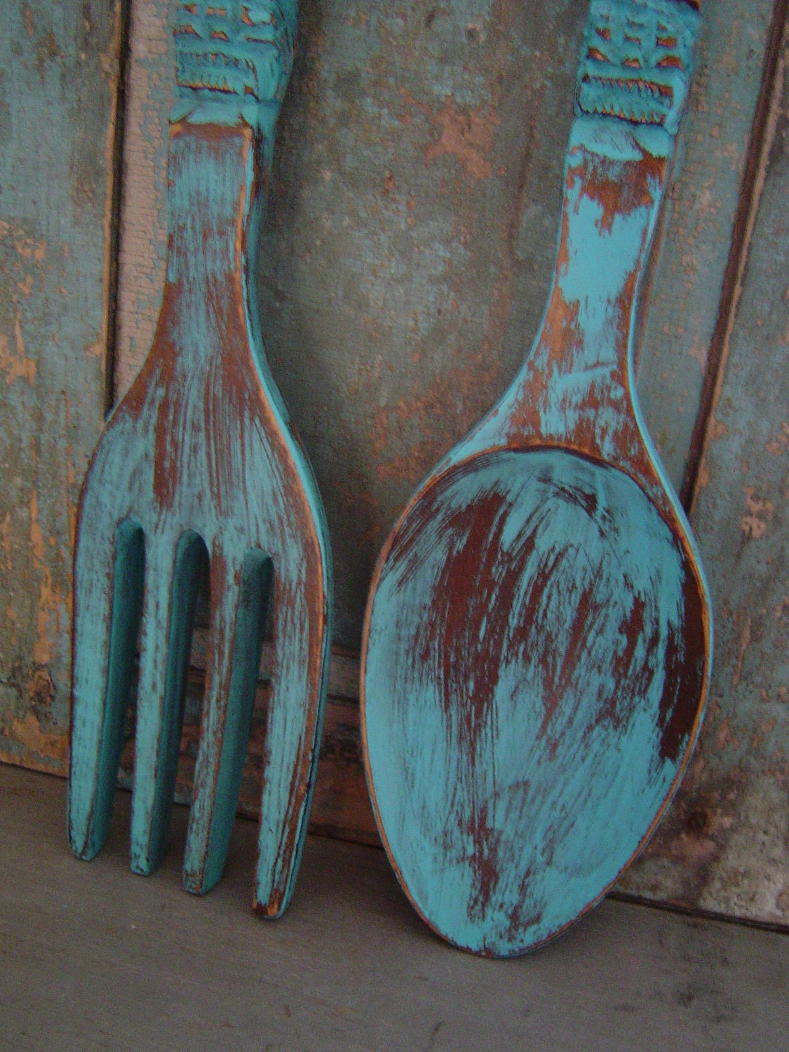Wall Decor Wooden Fork And Spoon : Your color choice spoon fork wooden wall decor distressed big