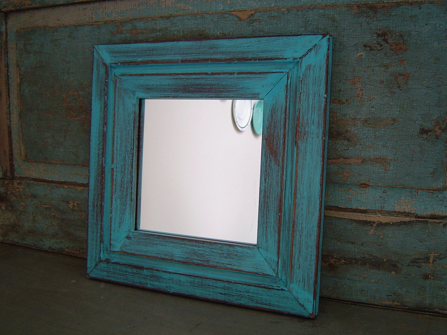 mirror wood frame turquoise distressed by turquoiserollerset