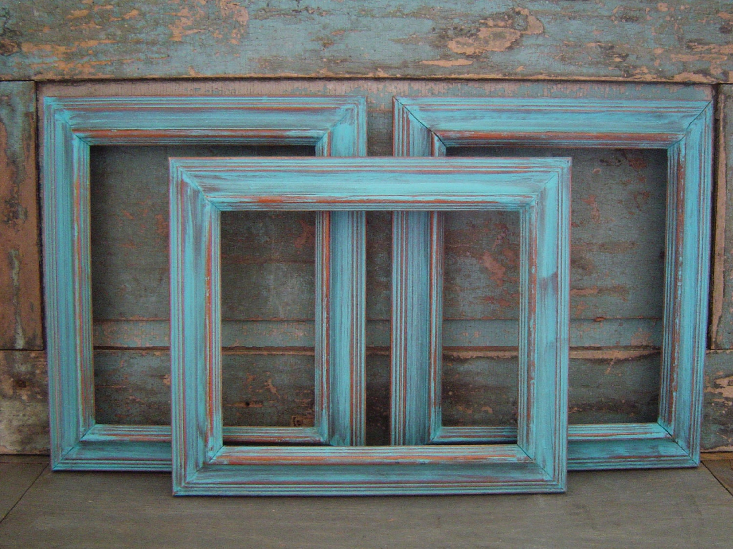 Set Of 3 Turquoise Distressed Wooden Picture By