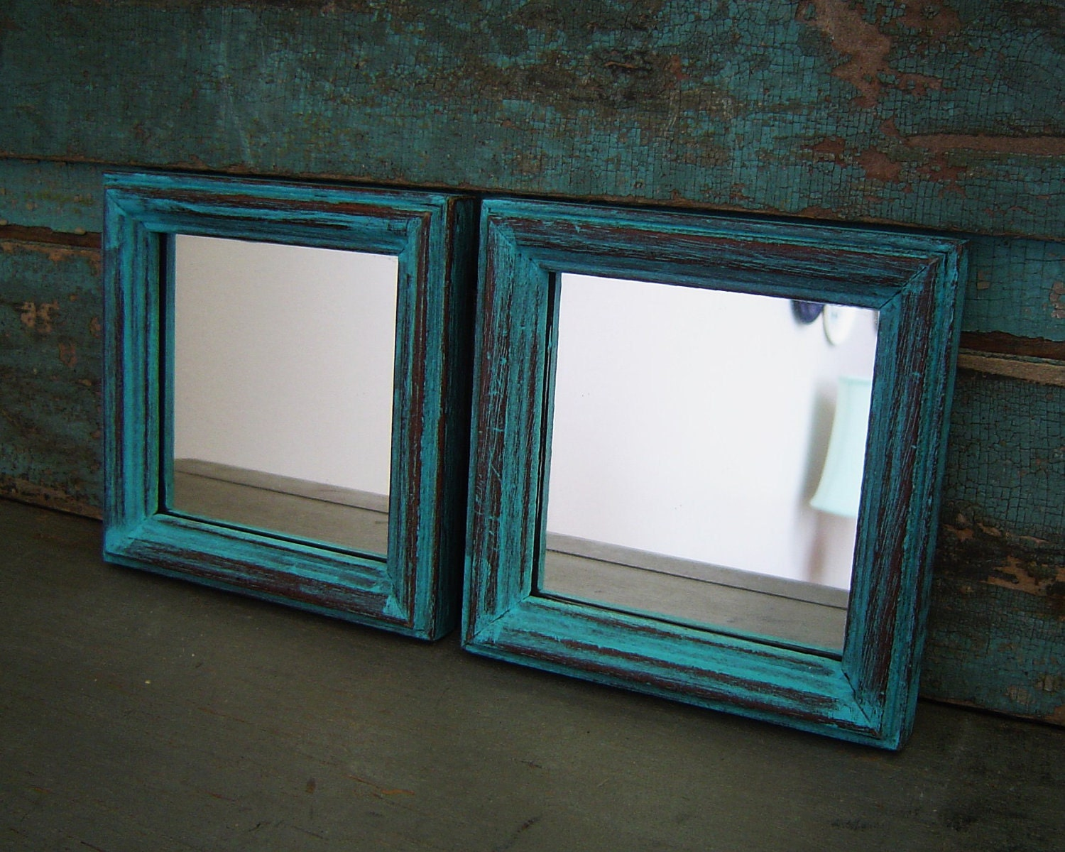 turquoise mirrors wood frame distressed set of 2. Black Bedroom Furniture Sets. Home Design Ideas