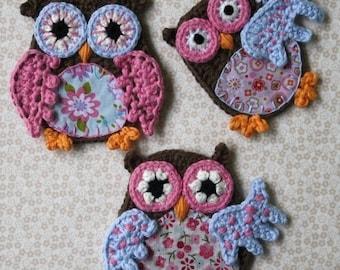 Applique Owl - Crochet Pattern, PDF in English, Deutsch