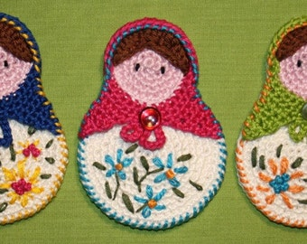 Matrioshka- Crochet Pattern (Applique), PDF in English, Deutsch