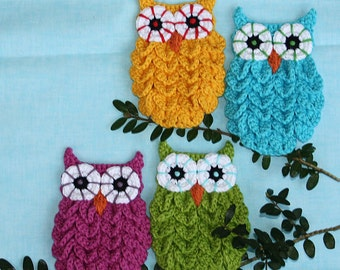 Owl in Crocodile Stitch - Crochet Pattern (Applique), PDF in English, Deutsch