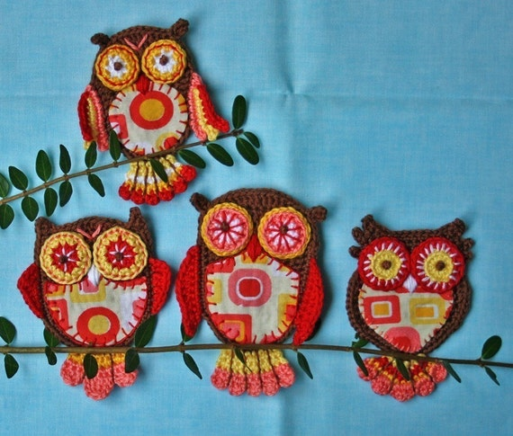 Applique Owl x4 - Vol.1-2 - Crochet Pattern