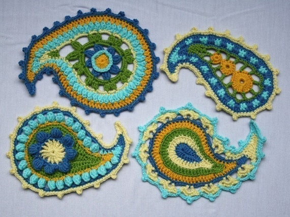 Paisley floral- crochet pattern, PDF in English, Deutsch