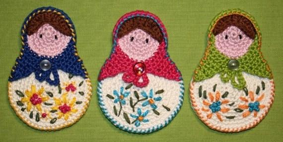 Matrioshka- Crochet Pattern (Applique), PDF in English, Deutsch