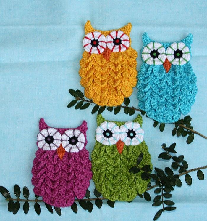 Owl in Crocodile Stitch Crochet Pattern Applique by CAROcreated