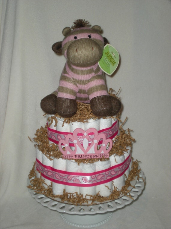Items Similar To Pink Giraffe Diaper Cake On Etsy