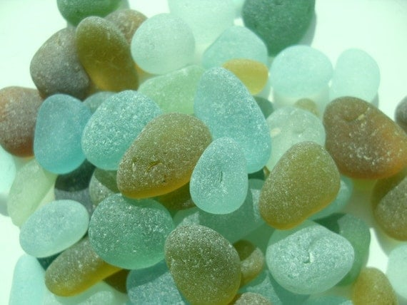Loose English Sea Glass - Small Pieces- Aquas, Greens, Ambers - FREE SHIPPING