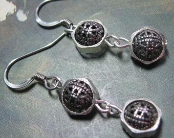 Silver Filigree Hex Earrings