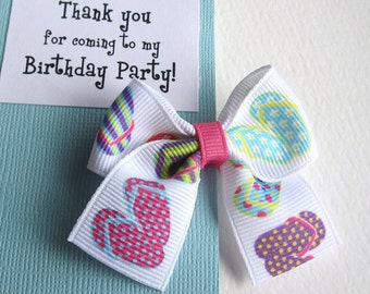 Flip Flops Birthday Party Favors, Aqua Blue and Pink Hair Bow on Pink Thank You Card