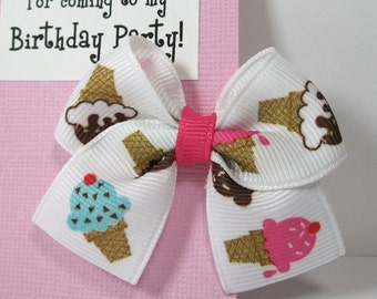 Ice Cream Kids Party Favors. Pink and White Hair Bow on Thank You Card. Personalized Birthday Party Favors. Handmade in Atlanta, GA