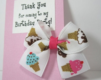 Ice Cream Birthday Party Favors on Pink Thank You Cards
