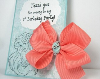 Thank You for Coming to My Birthday Party! Personalized Kids Favors for Ariel Themed Parties, Coral Pink and Blue Hair Bows