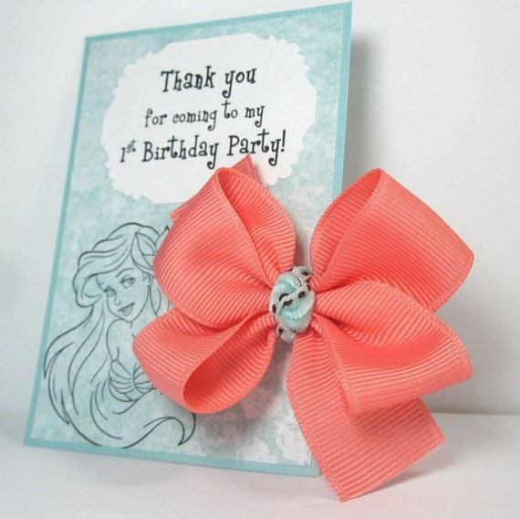 The Little Mermaid Party Favors, Hair Bow on Thank You Card - set of 18