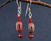 Patriotic Vintage Chevron Glass Trade Bead Earrings E149