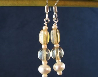 Classy Citrine Glass and Pearl Earrings E164
