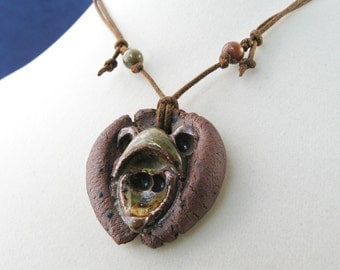Clay Mouse/Frog: Handmade Adjustable Cord Necklace, OOAK N198