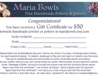Gift Certificate for 50 Dollars at Mariabowls on Etsy