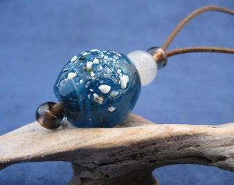 Teal Glass & Vintage Alabaster: Adjustable Cord Necklace