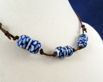 Delft Peanuts: Cobalt & White Porcelain Clay Beads Adjustable Necklace N192