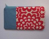 Wallflower in Red and Aqua - zipper case