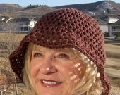 Bohemian hat women's crochet hat brown brimmed summer hat women's fashion